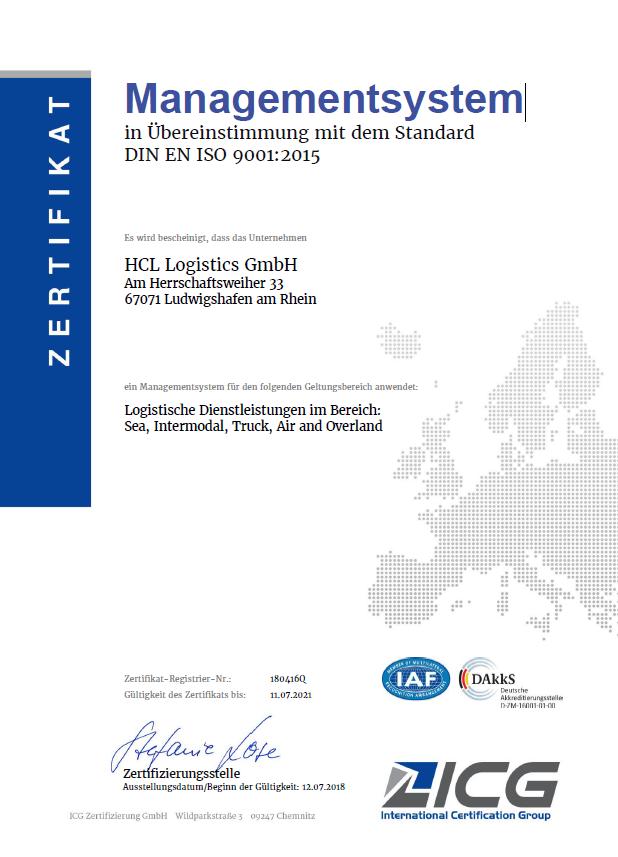 Zertifizierung Managementsystem in Übereinstimmung mit ISO 9001 ...